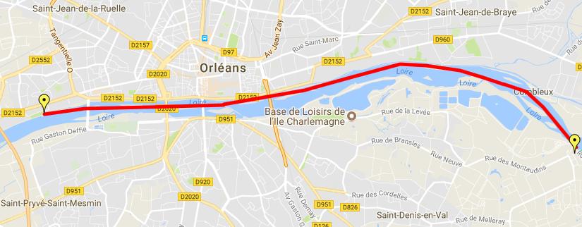 carte randonnée canoe Orléans